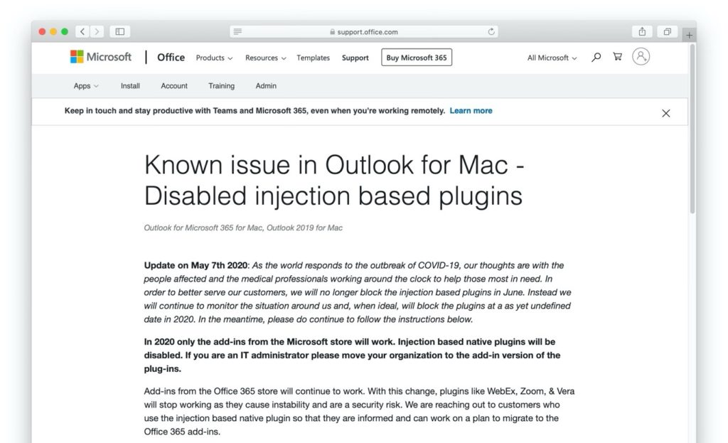 Outlook for Mac - Disabled injection based plugins