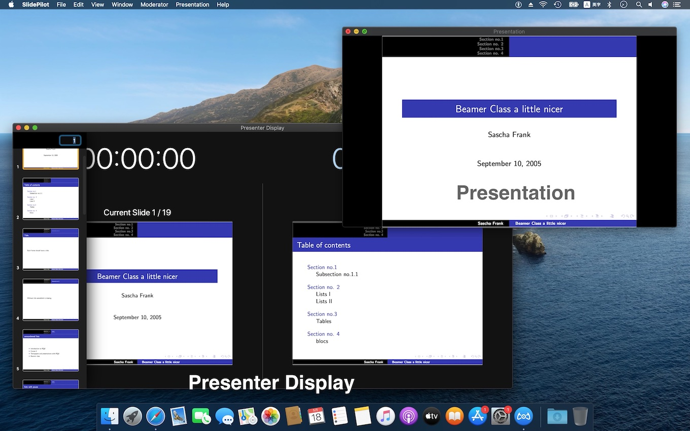 SlidePilotのPresentationとPresenter Displayウィンドウ
