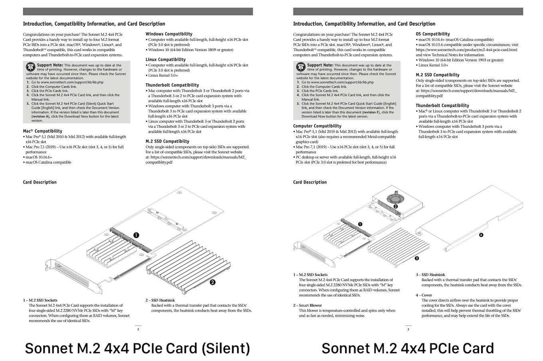 M.2 4x4 NVMe SSD Silent PCIe Card