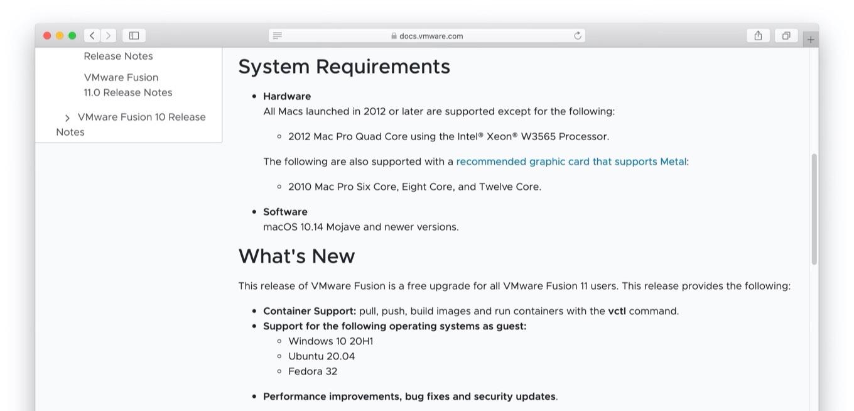 VMware Fusion 11.5.5のリリースノート