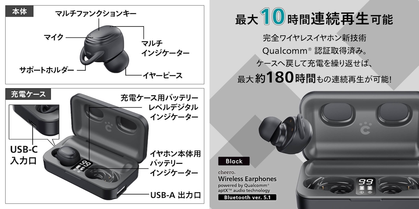 cheero Wireless Earphones Bluetooth 5.1の特徴