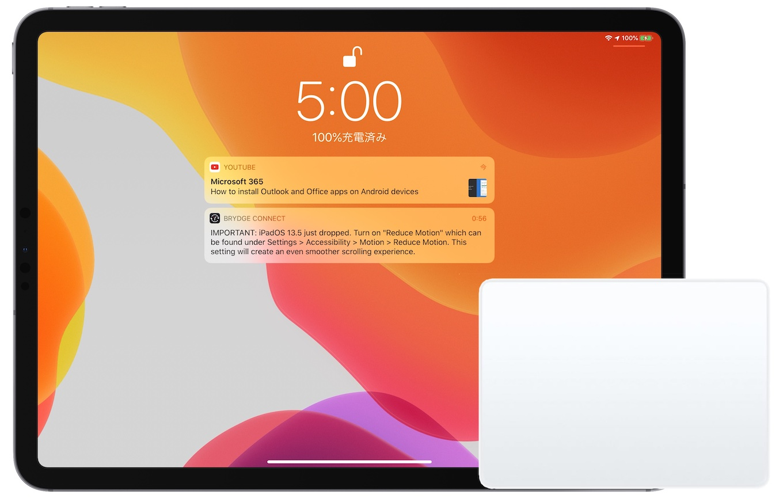 iPadOS 13.5のiPad Proとトラックパッド