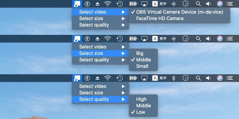zaru/mewcam video size quality