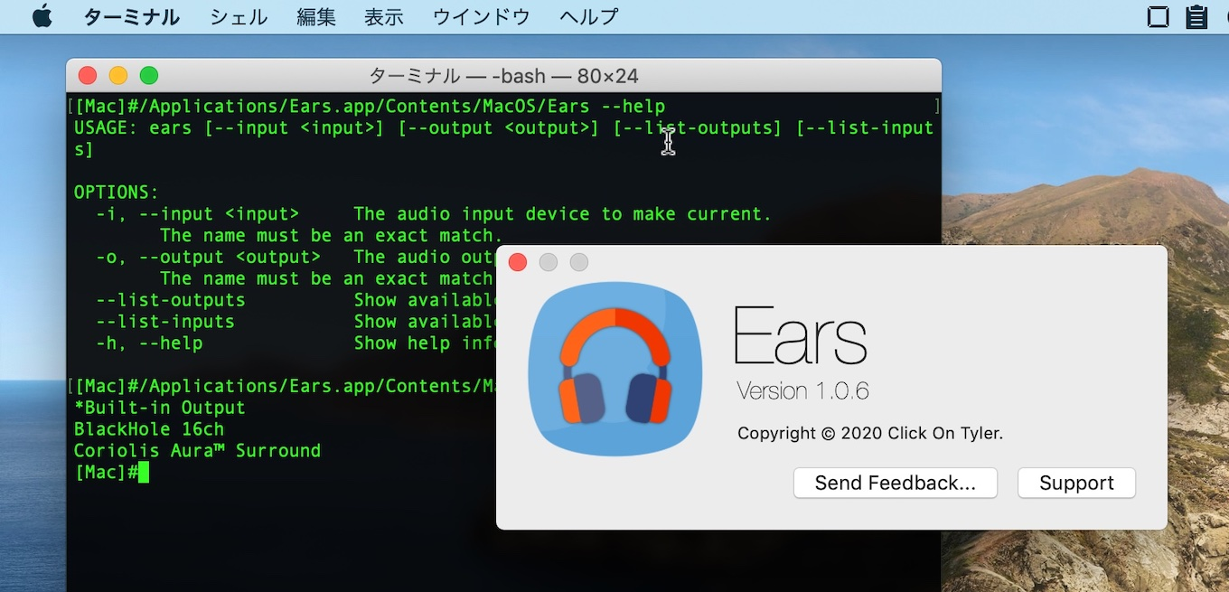 Ears for macOSのターミナル