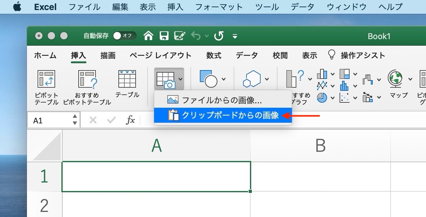 Excel for Macの画像からの新しいデータ機能の使い方