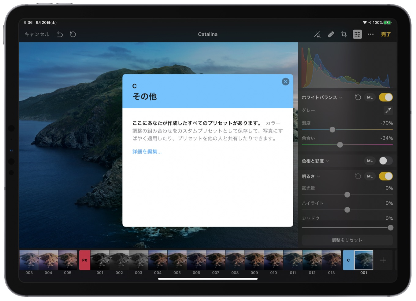 Pixelmator Photo 1.3 for iPadのプリセット