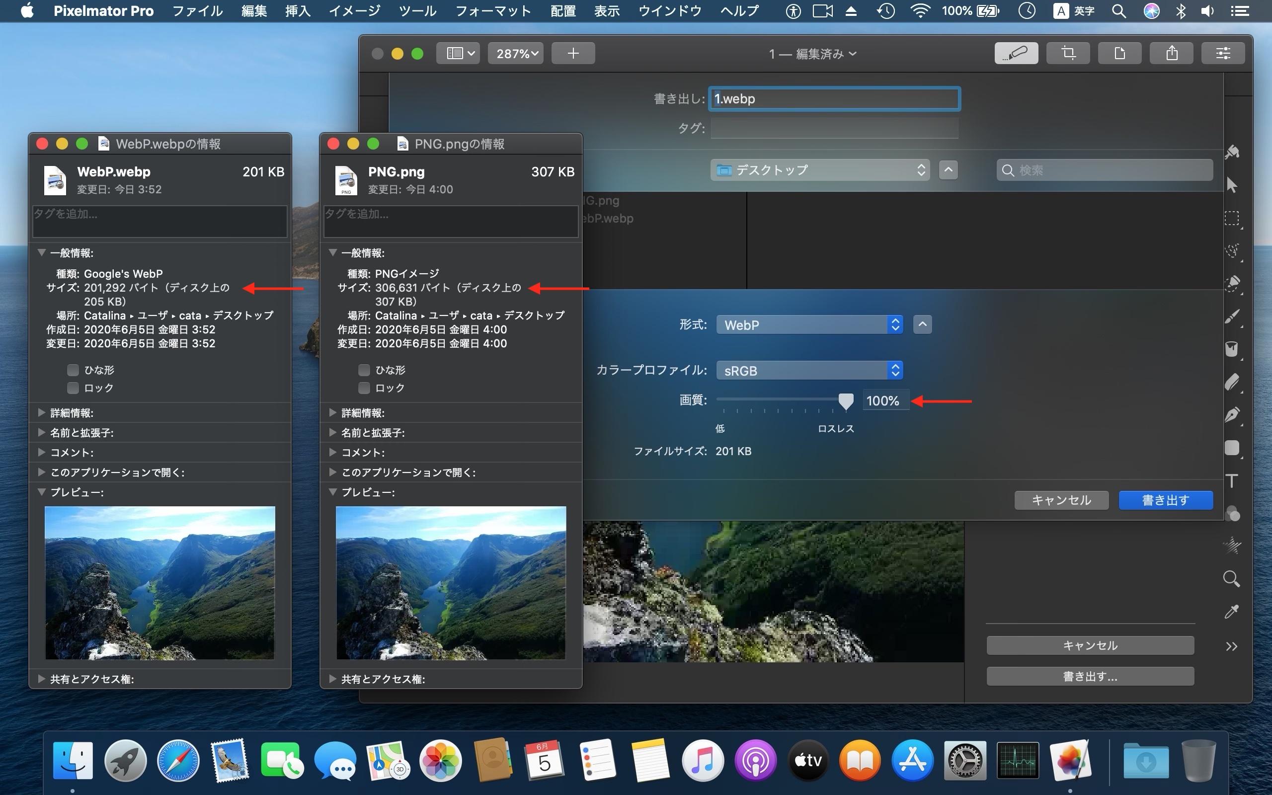 Pixelmator Pro for MacでWebP可逆(ロスレス)/非可逆圧縮
