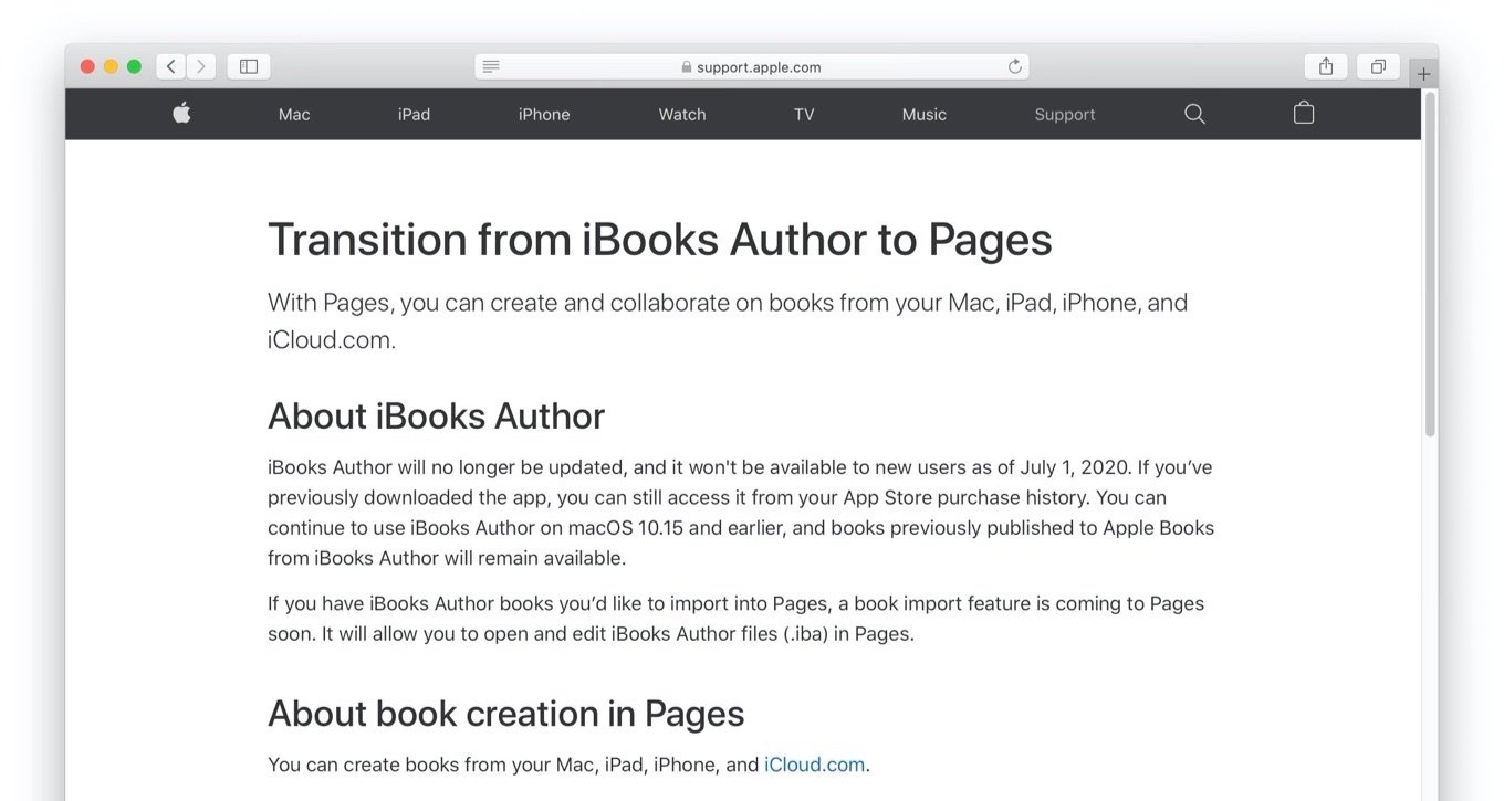 Transition from iBooks Author to Pages