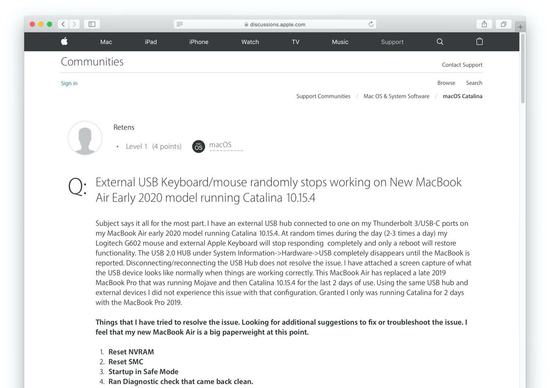 MacBook Pro/Air 2020でUSB 2.0接続のキーボードとマウスが突然利用できなくなる