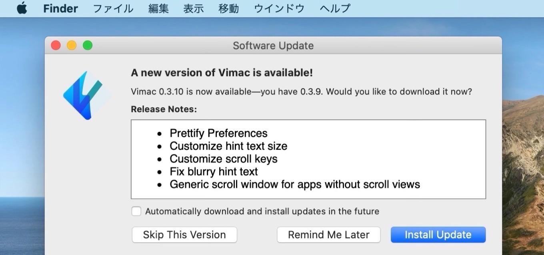 Vimac 0.3.10アップデート