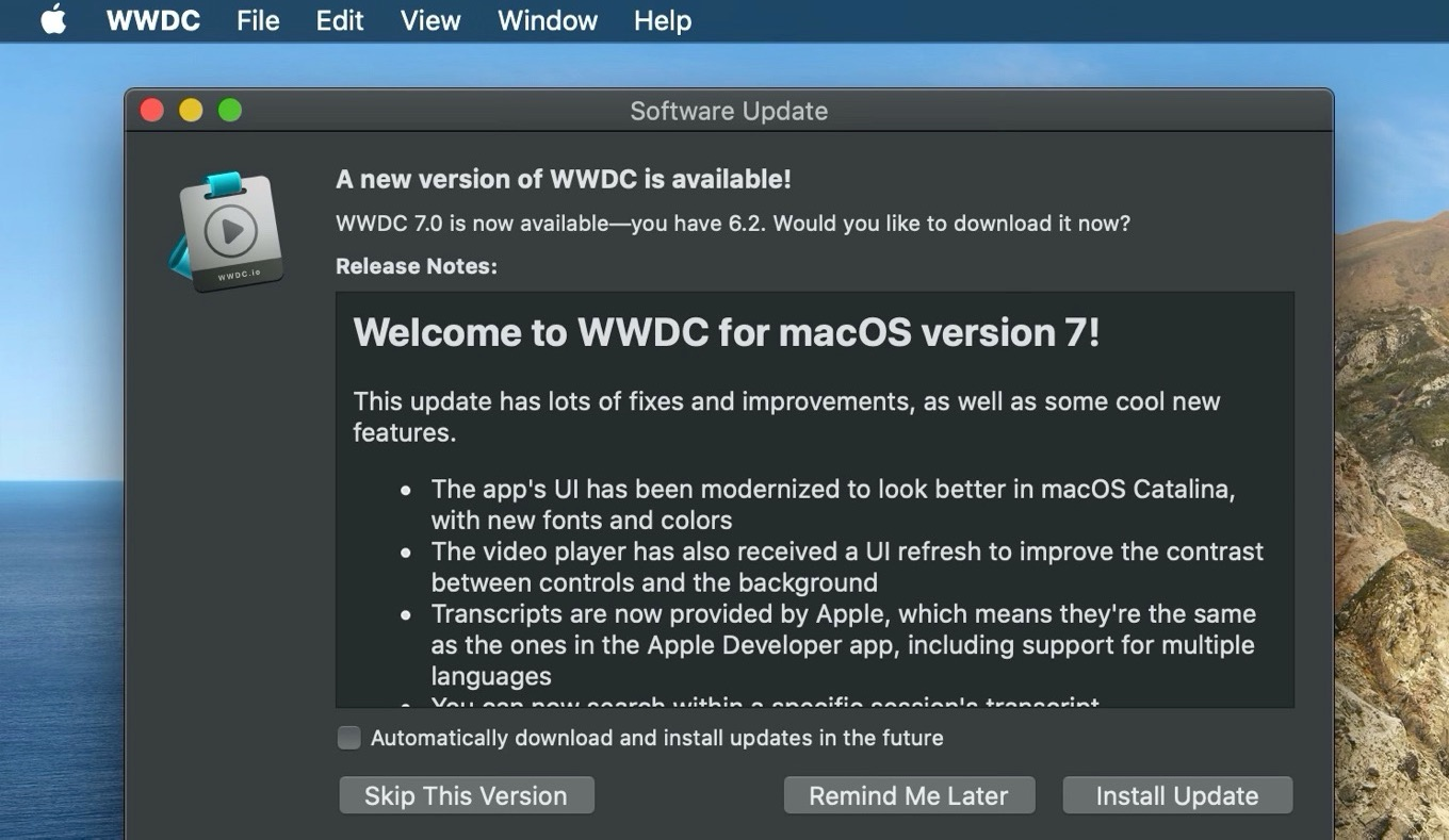 WWDC for macOS 7 update