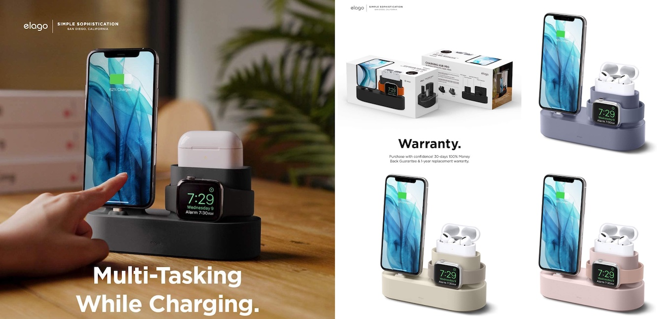 elago 3 in 1 Charging Station Compatible with AirPods Pro