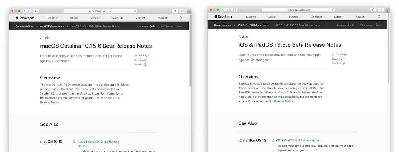 macOS 10.15.6 CatalinaとiOS & iPadOS 13.5.5のリリースノートには