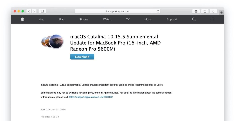 macOS Catalina 10.15.5 Supplemental Update for MacBook Pro (16-inch, AMD Radeon Pro 5600M)