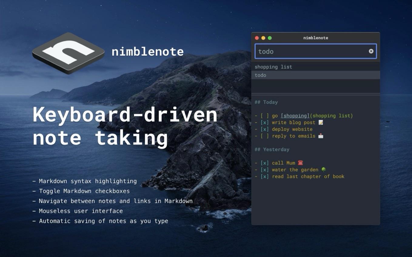 nimblenote app for macOS Hero