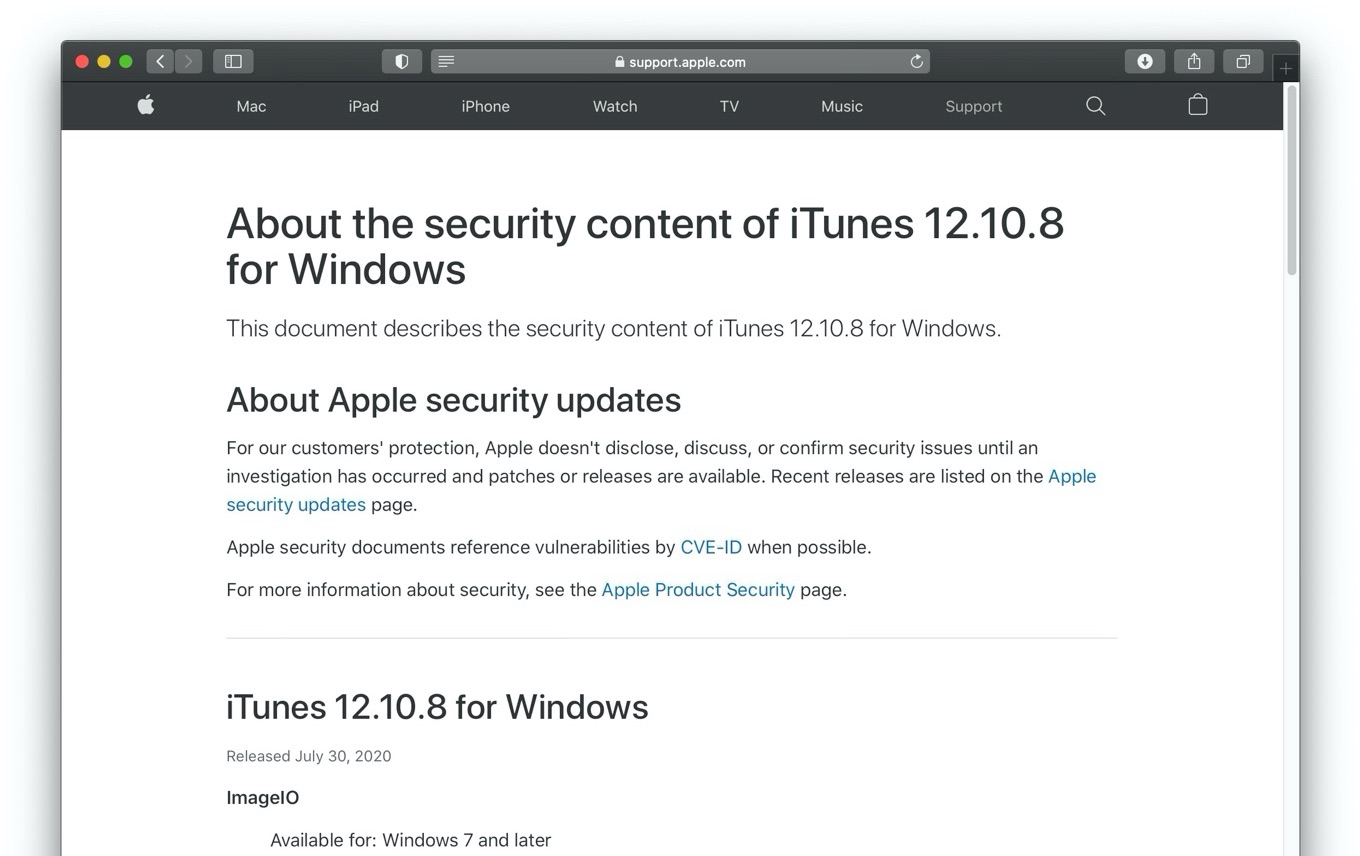 About the security content of iTunes 12.10.8 for Windows