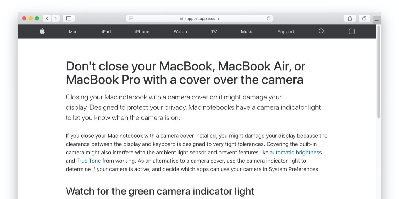Don't close your MacBook, MacBook Air, or MacBook Pro with a cover over the camera