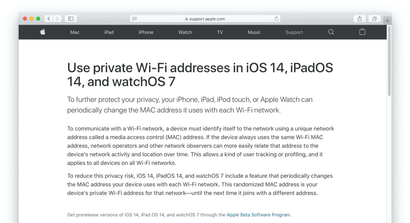 Use private Wi-Fi addresses in iOS 14