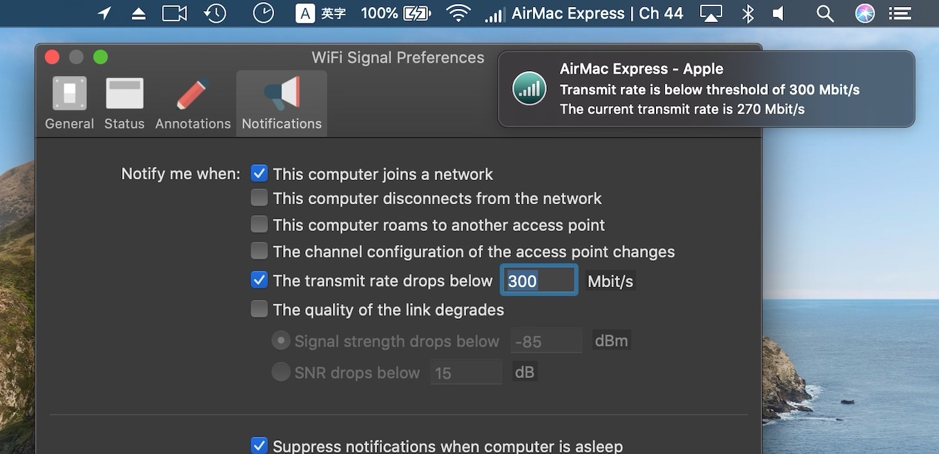 notify when transmit rate drops