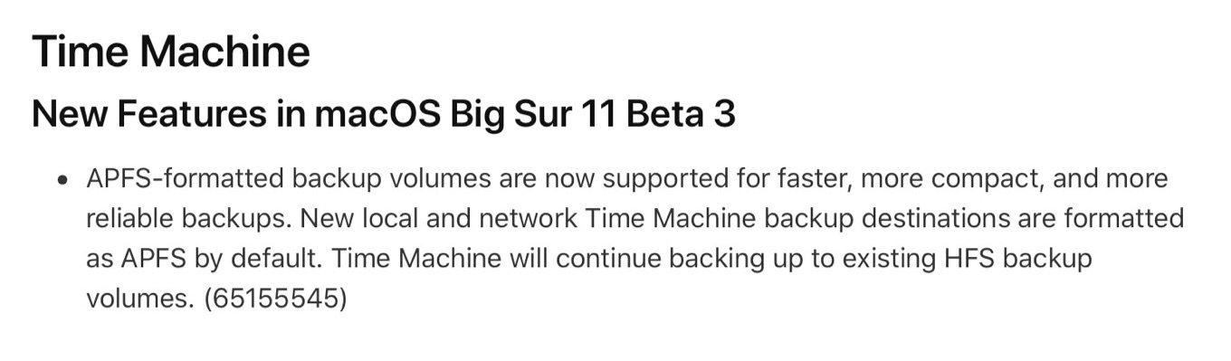 macOS 11 Big SurのTime MachineはAPFSをサポート