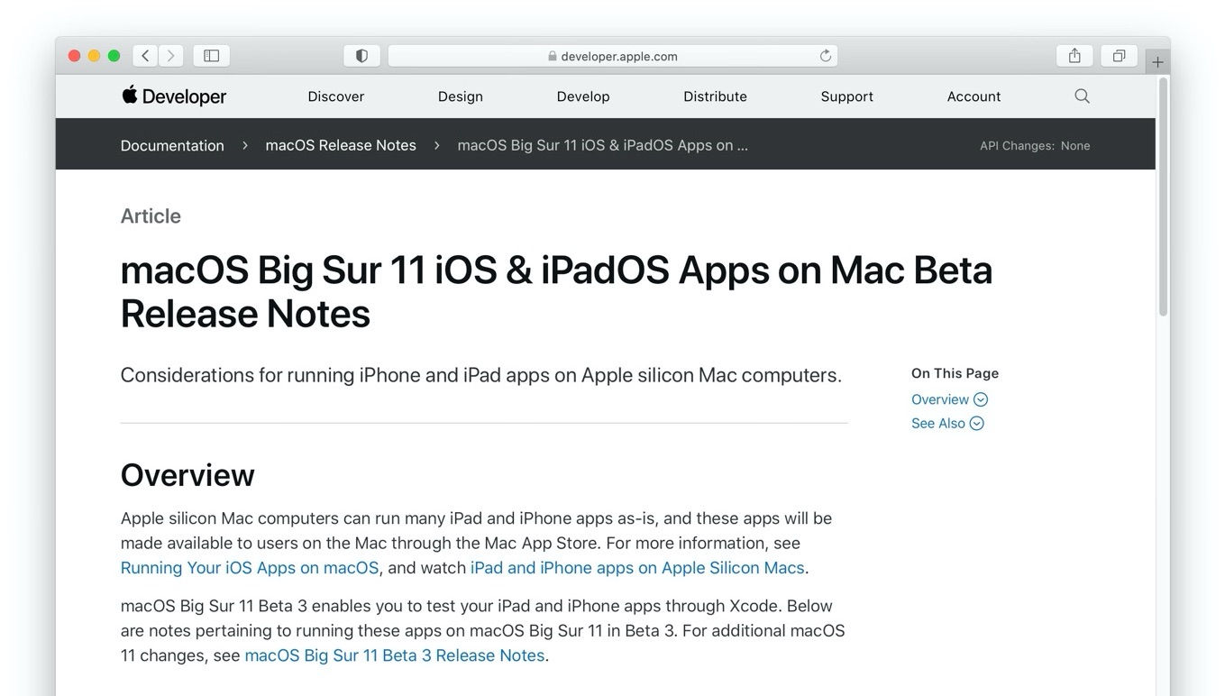 macOS Big Sur 11 iOS and iPadOS Apps on Mac Beta Release Notes