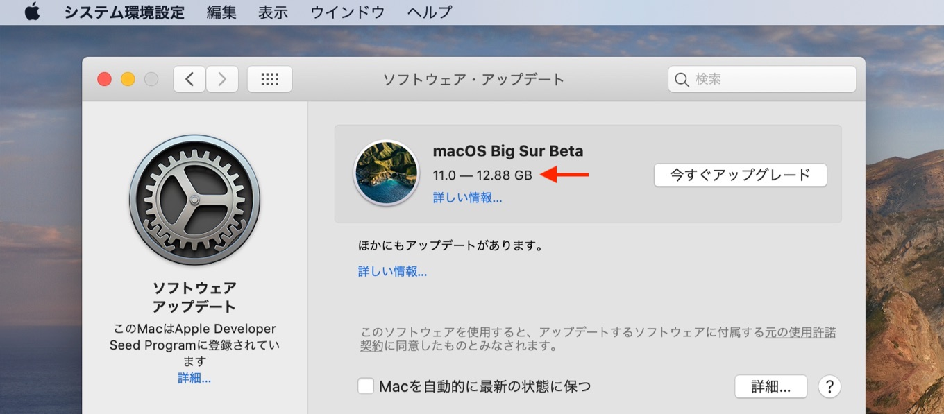 12GBを超えるmacOS 11 Big Sur Beta 3のUniversal Binaryインストーラー