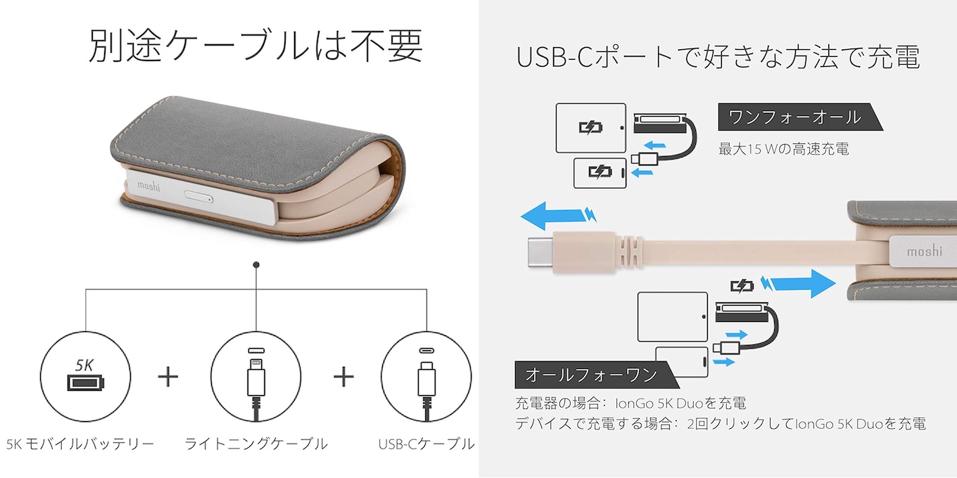 moshi IonGo 5K Duo with USB-C to Lightning Cable