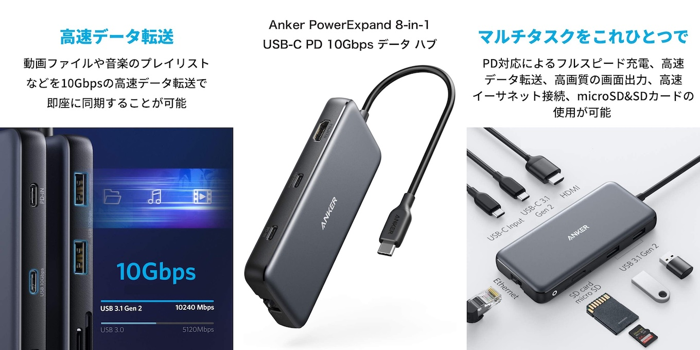 Anker PowerExpand 8-in-1 USB-C PD 10Gbps データ ハブ