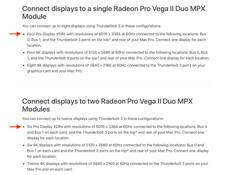 Pro Vega II Duo MPX Moduleが扱えるApple Pro Display XDRの数