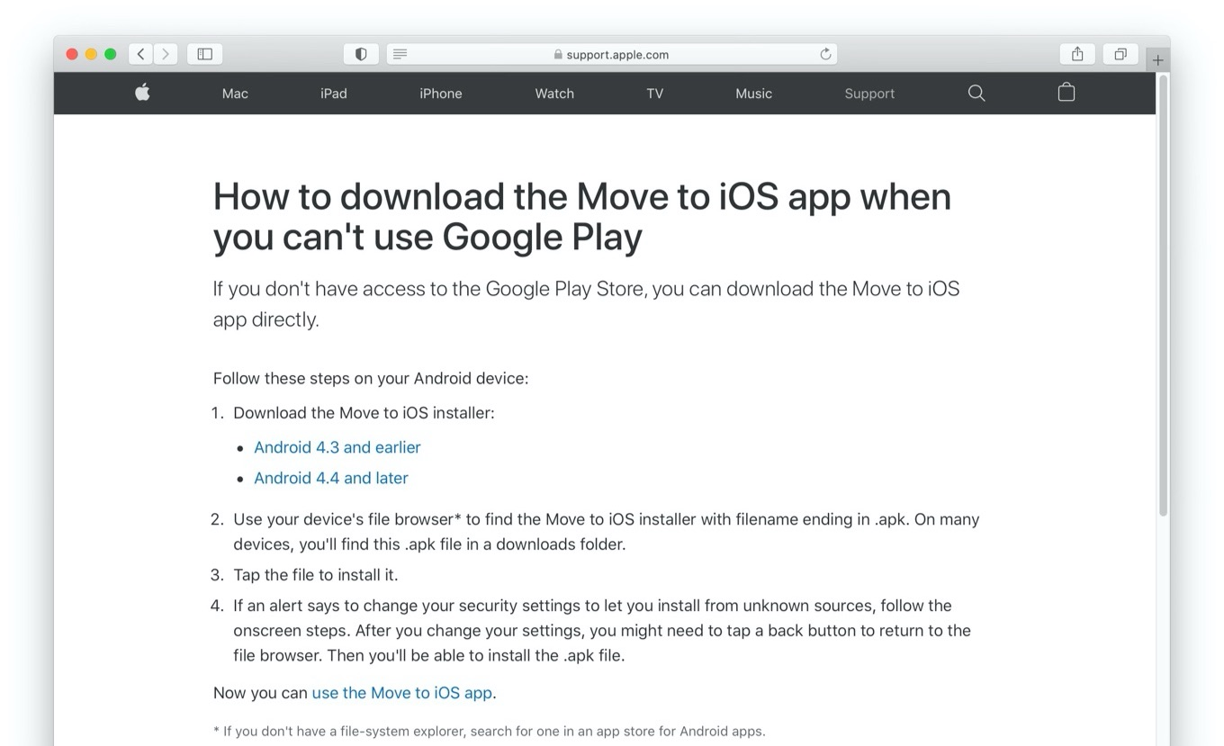 How to download the Move to iOS app when you cant use Google Play
