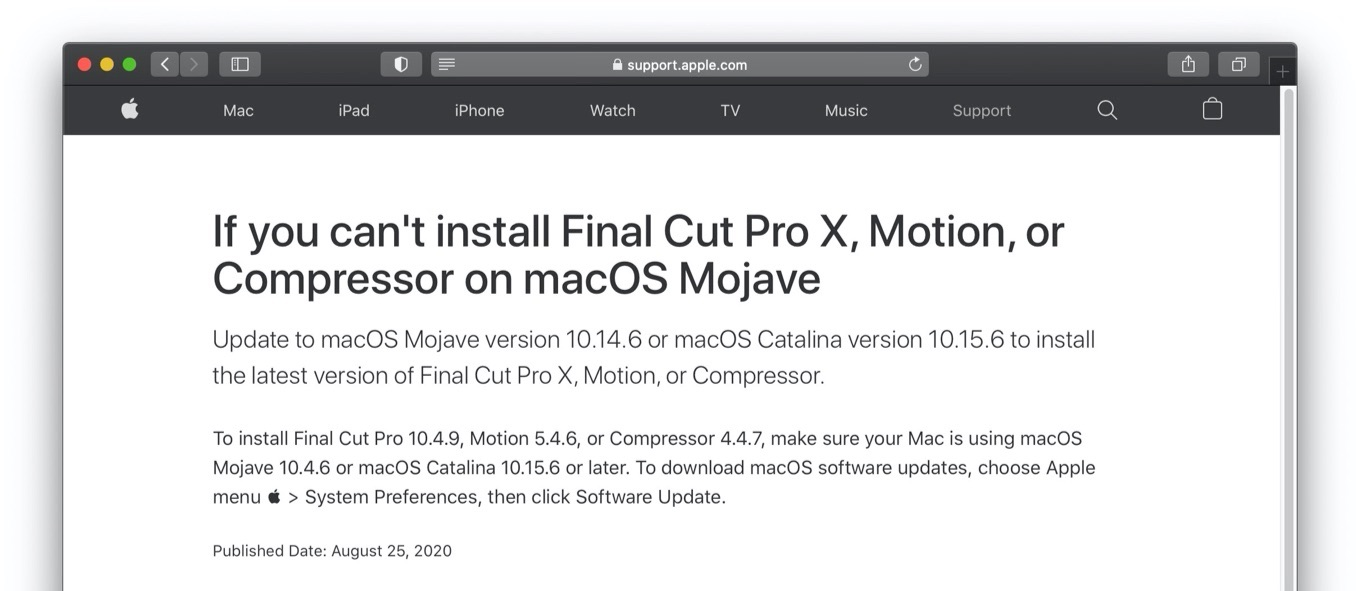 If you can't install Final Cut Pro X, Motion, or Compressor on macOS Mojave