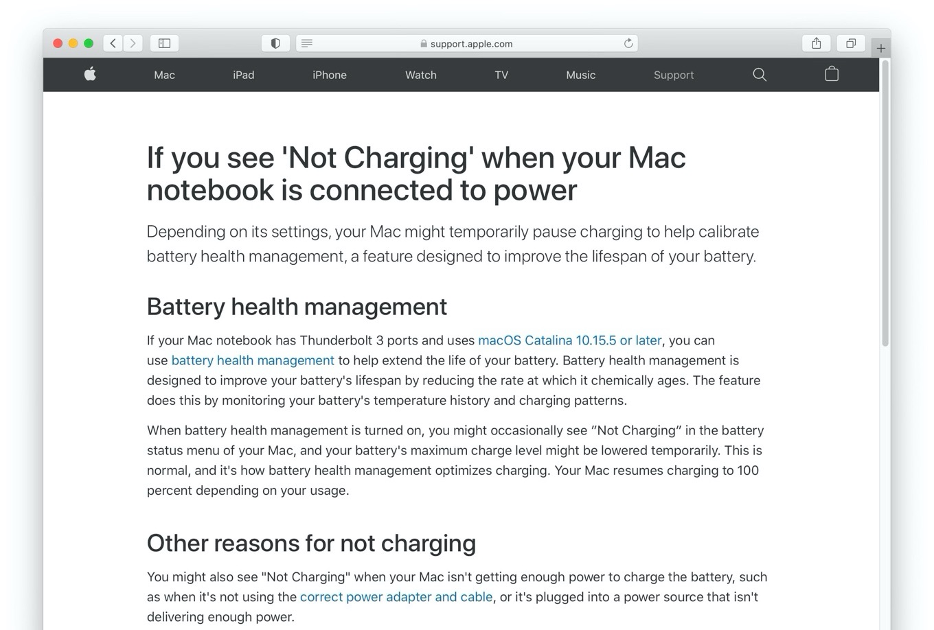 If you see 'Not Charging' when your Mac notebook is connected to power