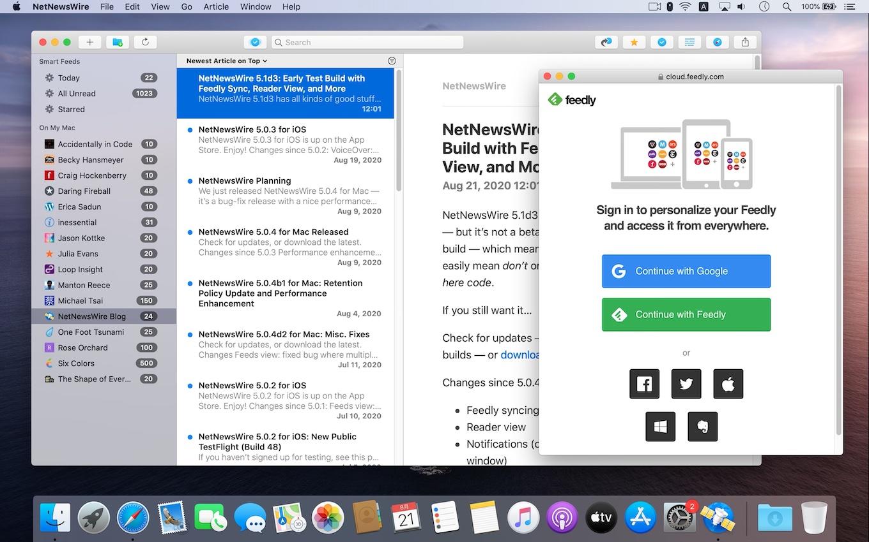 NetNewsWire 5.1d3 support Feedly