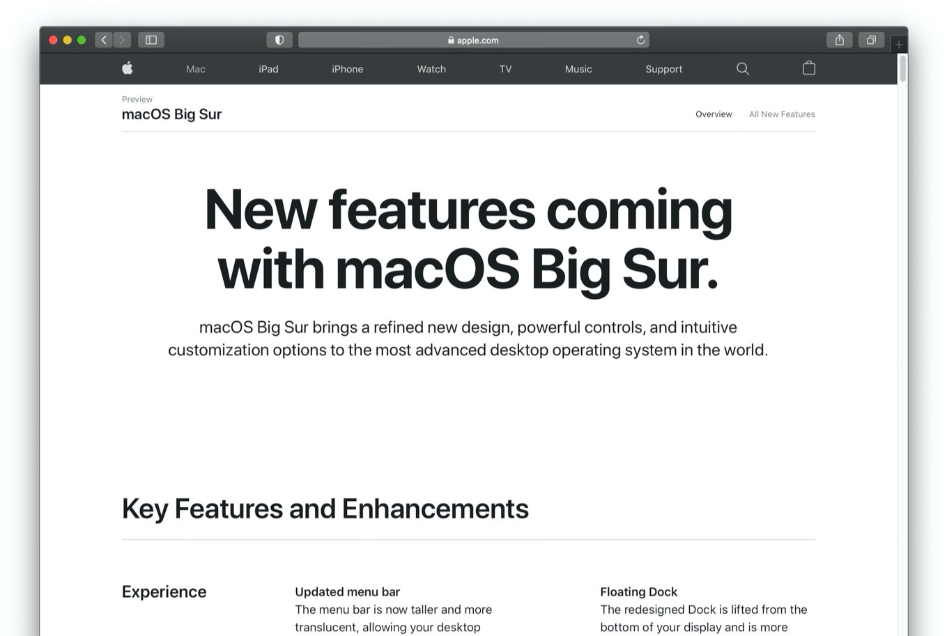 New features coming with macOS Big Sur.
