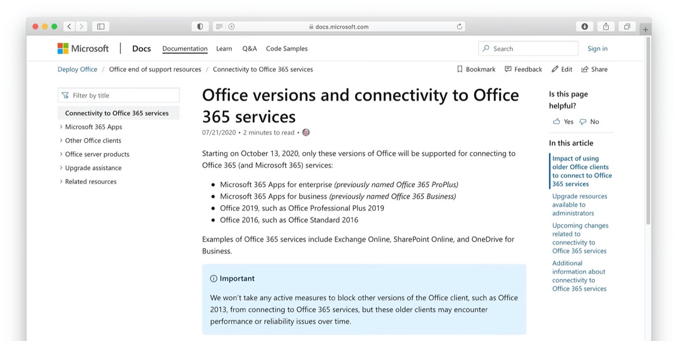 Office versions and connectivity to Office 365 services