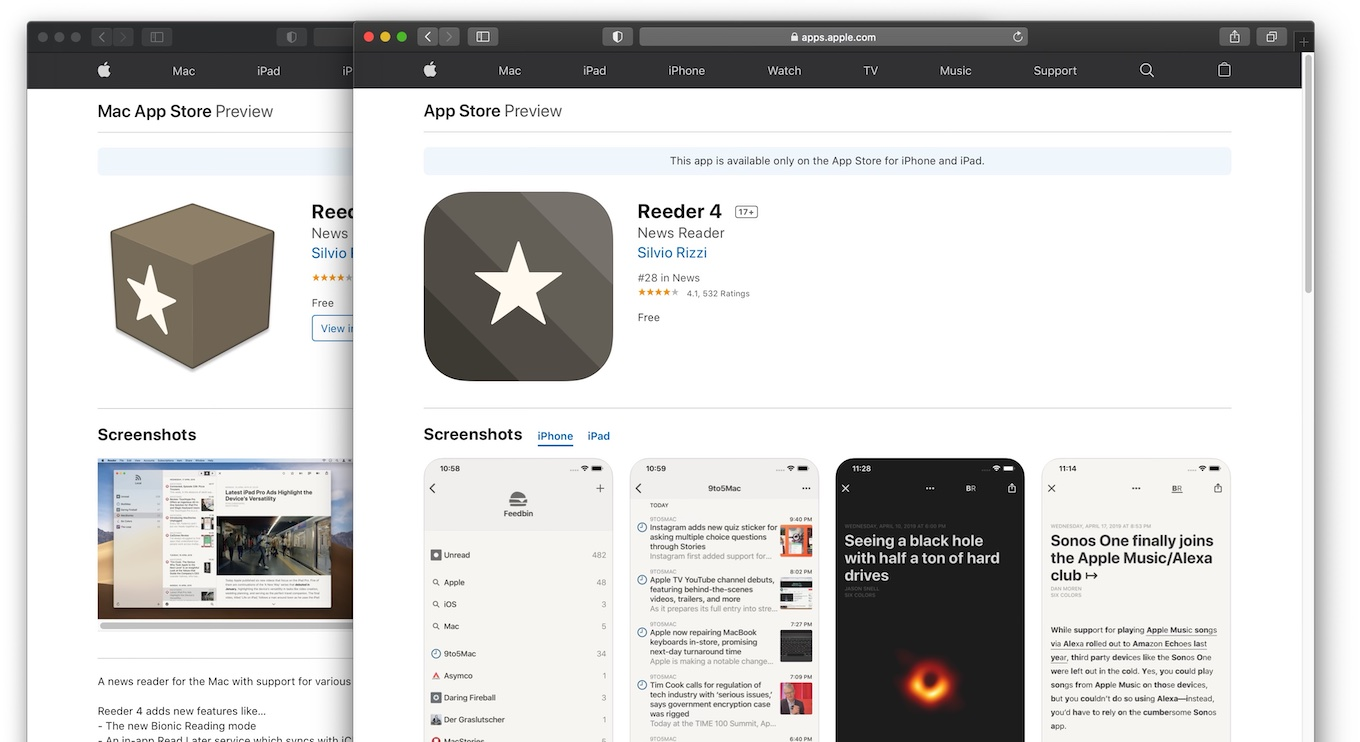 Reeder 4 for Mac iOS free