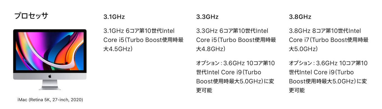 iMac (Retina 5K, 27インチ, 2020)のプロセッサリスト