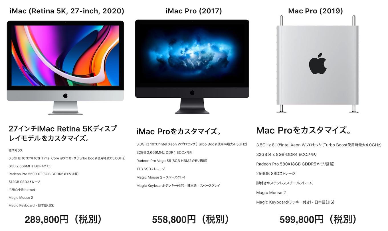 iMac 2020とiMac Pro 2017, Mac Pro 2019の比較