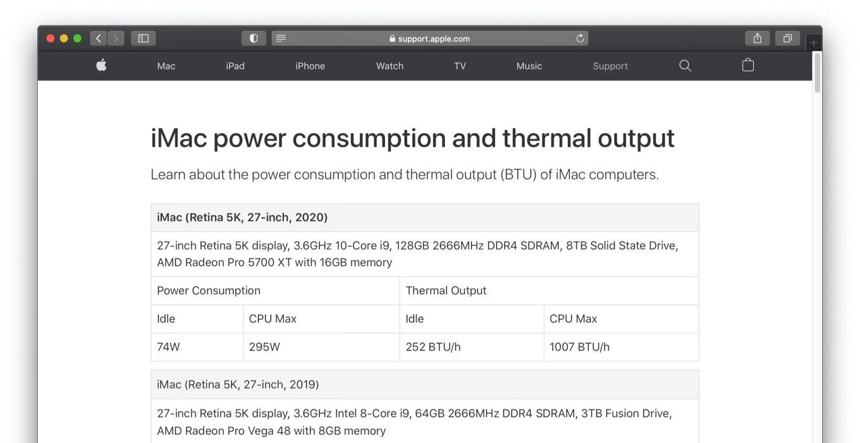 iMac (Retina 5K, 27インチ, 2020)の電力消費と熱出力情報