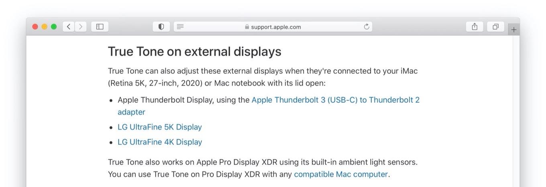 True Tone on external displays