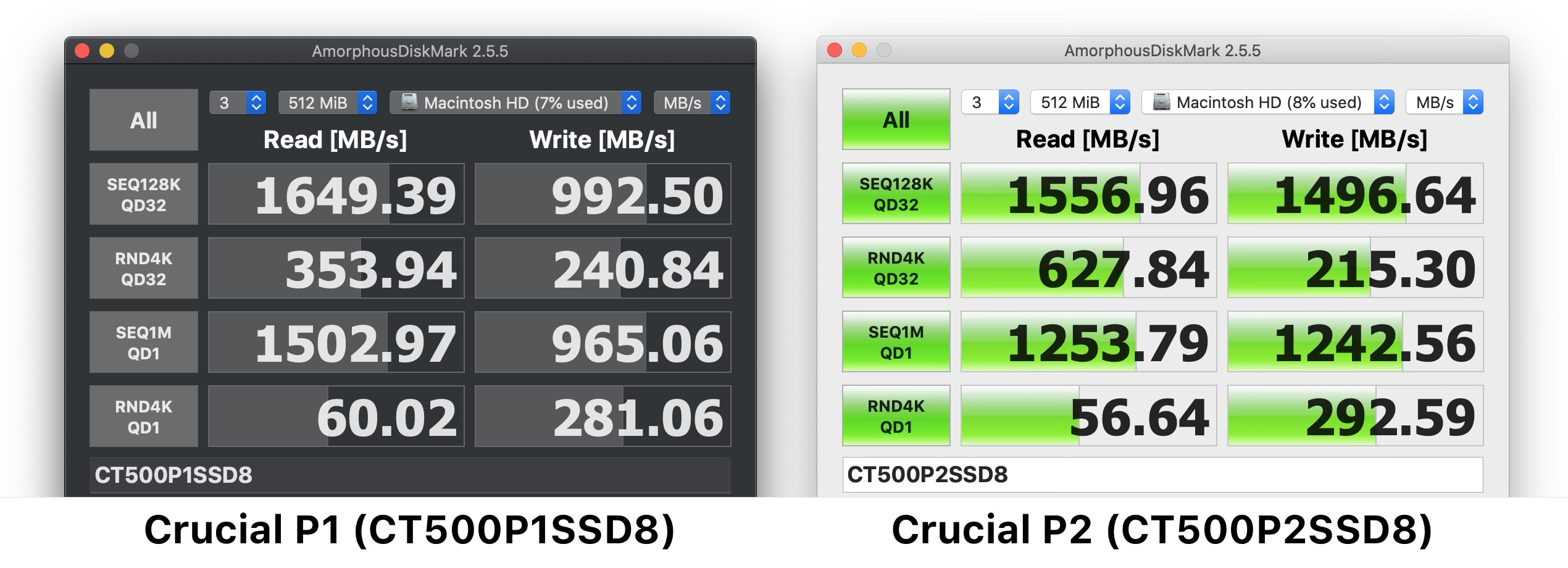 Crucial P1とP2のAmorphousDiskMarkを利用してRead/WriteのベンチマークAmorphousDiskMarkベンチマーク