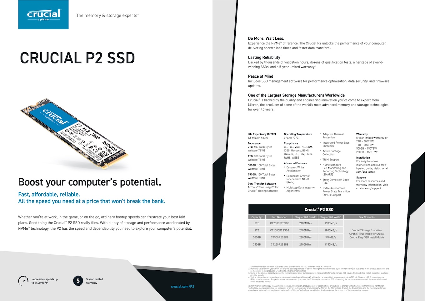Crucial P2のSpecifications