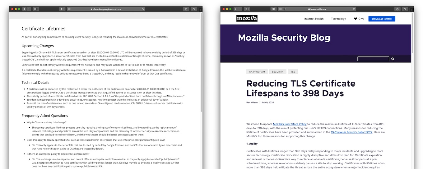 Google and Mozilla Reducing TLS Certificate Lifespans to 398 Days