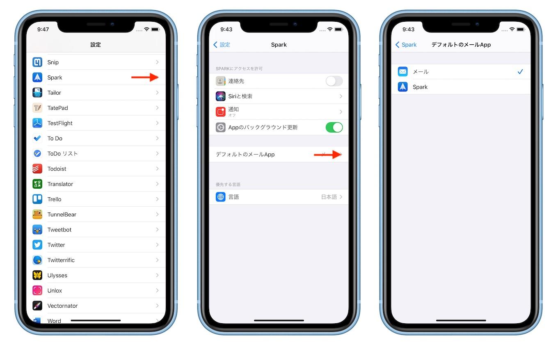 iOS 14でメールアプリを変更する