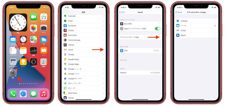 iOS 14でデフォルトメールアプリを切り替える