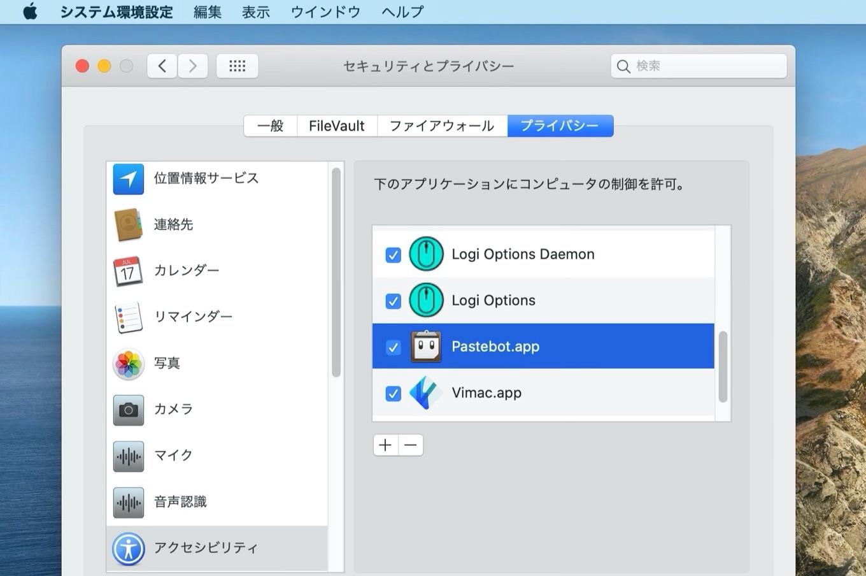 PastebotのAccessibility設定
