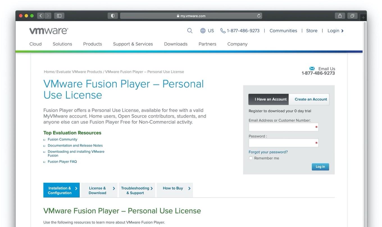 VMware Fusion Player Personal Use License