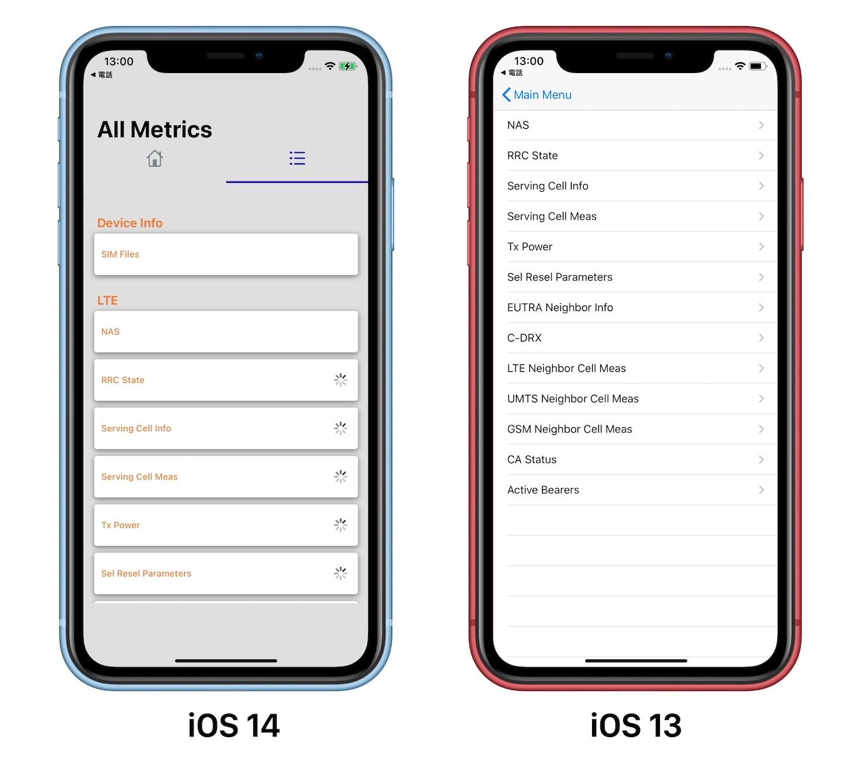 iOS 14とiOS 13のiPhoneのField Test Mode