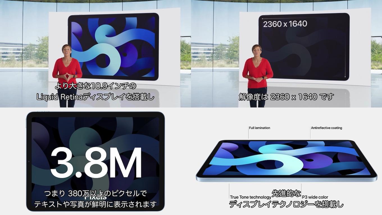 iPad Air (第4世代)のLiquid Retinaディスプレイ