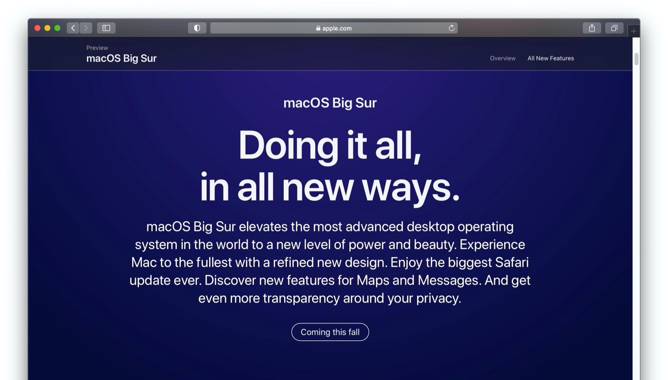 macOS 11 Big Sur coming this fall